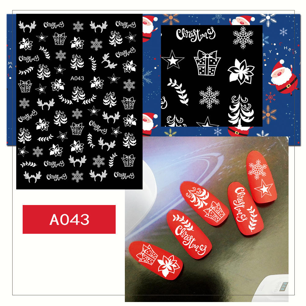 Fashion christmas Merry Christmas 3D sneeuwvlok Elements Nail Wrap Sticker voor Tips Manicura stickers voor Nagels