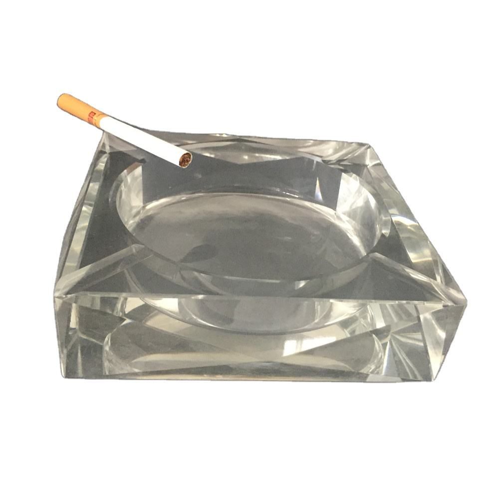 Cheap rectangle shape crystal glass ashtray for hotel decorations