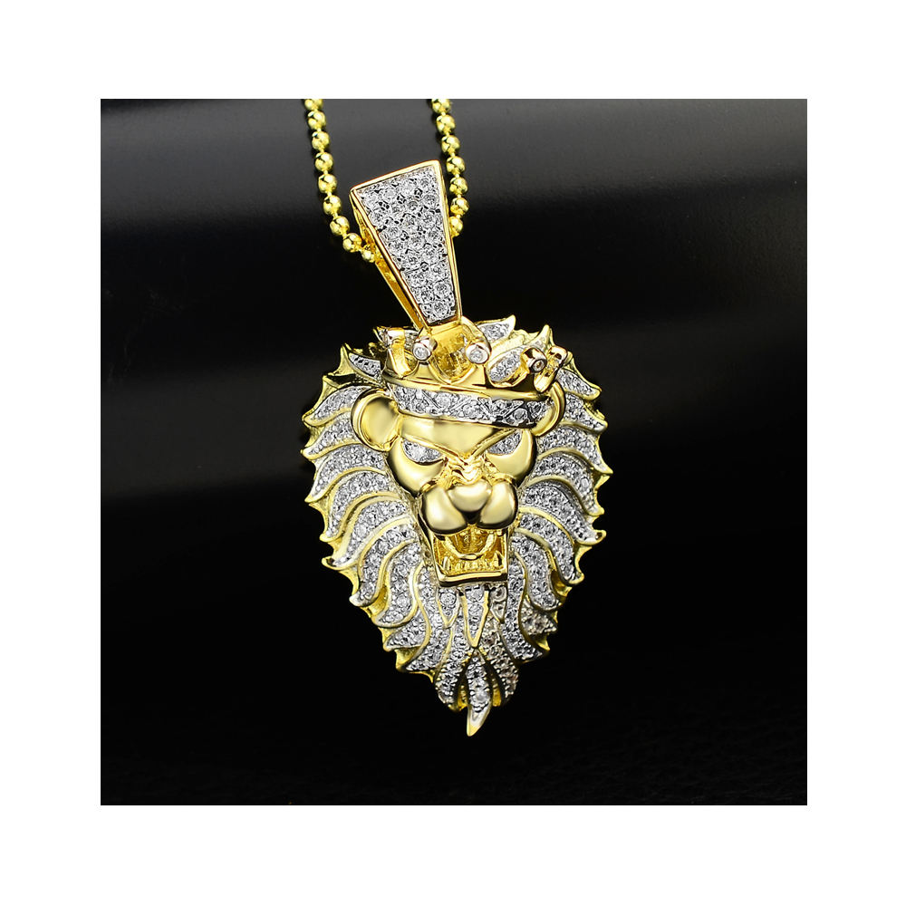 micro pave jewelry custom king pendant designs men 18K Gold Plated copper alloy animal lion diamond necklace