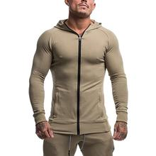 Men's custom athletic tapered fit kangaroo pockets zipper up hoodie