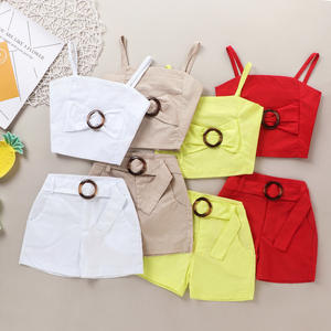 New Kids Outfits Girls Solid Tank Tops With Belt Shorts Pants 2PCS Sets Cotton Girl Clothes Set Summer Kids Clothing