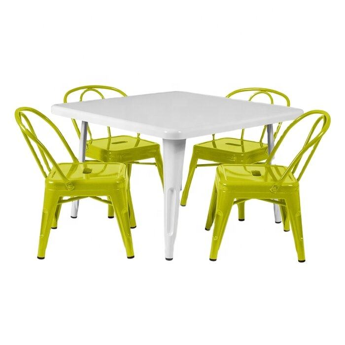 BOHAO Metal Kids Table White Children Table for play study eating in living room