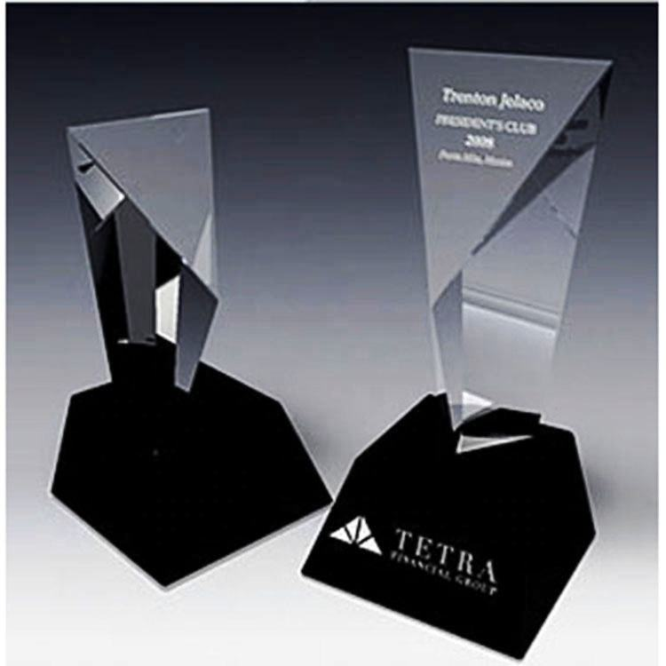 Custom high grade Reward crystal glass trophy for Corporate awards