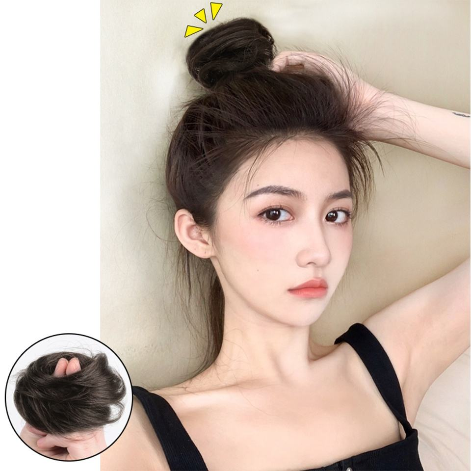 Natural Straight Hairpieces for Women Hair Bun Elastic Scrunchie Chignon Updo Curly Hair Human Hair synthetic Wrap Ponytail