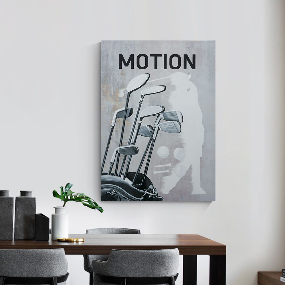 Silhouette golfers motion hit sweeping custom digital print ready to hang canvas art summer for relax time office wall decor