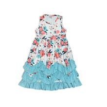 new summer baby girls cotton maxi dress milk silk pink blue floral ruffles sleeveless children clothes match accessory bow