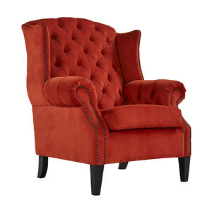 European Style Elegant Red Linen Fabric Cafe Coffee Shop Furniture Arm Chair