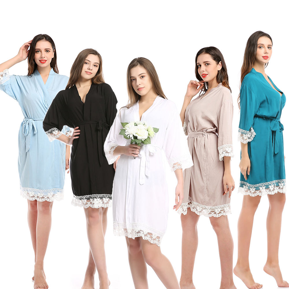 Confortable Solid Color Cotton Lace Ladies Sleepwear Pajamas Sexy Transparent Night Gown Kimono For Brides Robe soiree