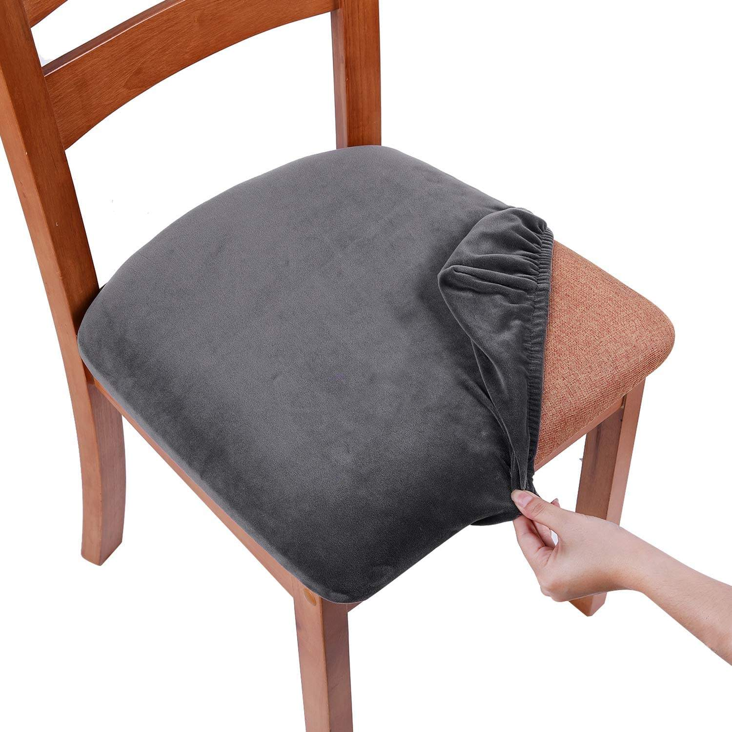 Velvet Dining Stretch Fitted Dining Room Upholstered Chair Seat Cushion Cover, Removable Washable Furniture Protector Slipcovers