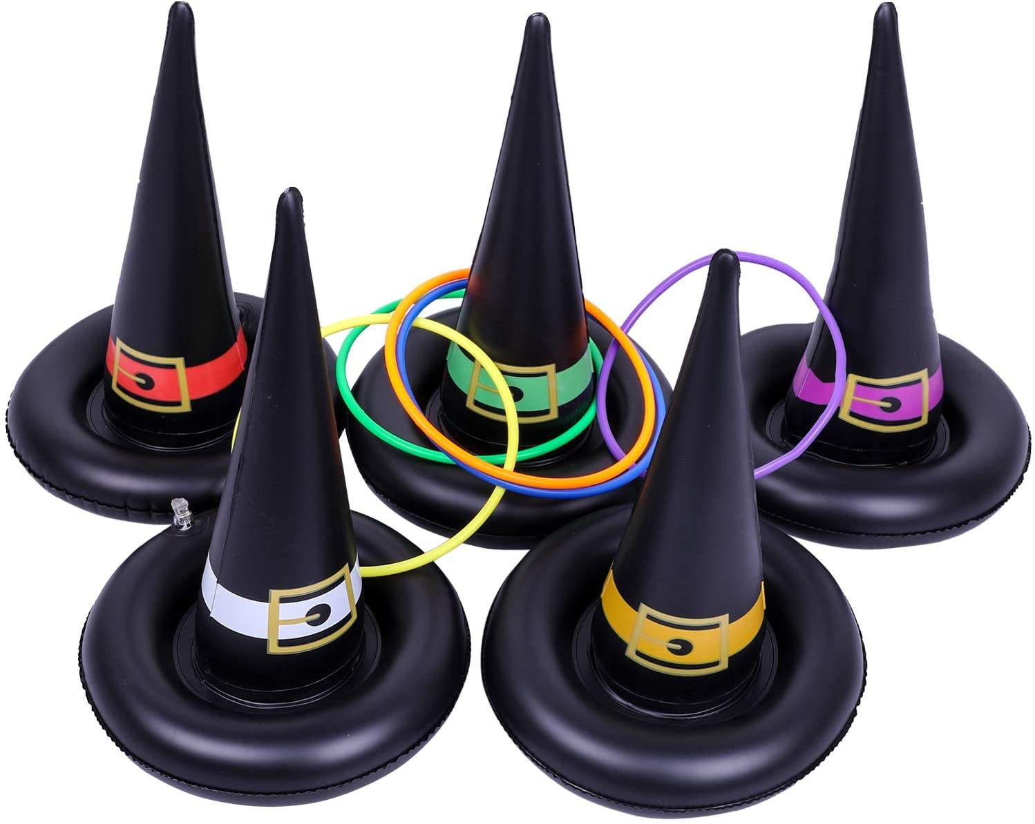 Flame Ghost Ring Toss Halloween Kids Family Carnival Halloween Inflatable Witch Hat Ring Toss Party Games Toys