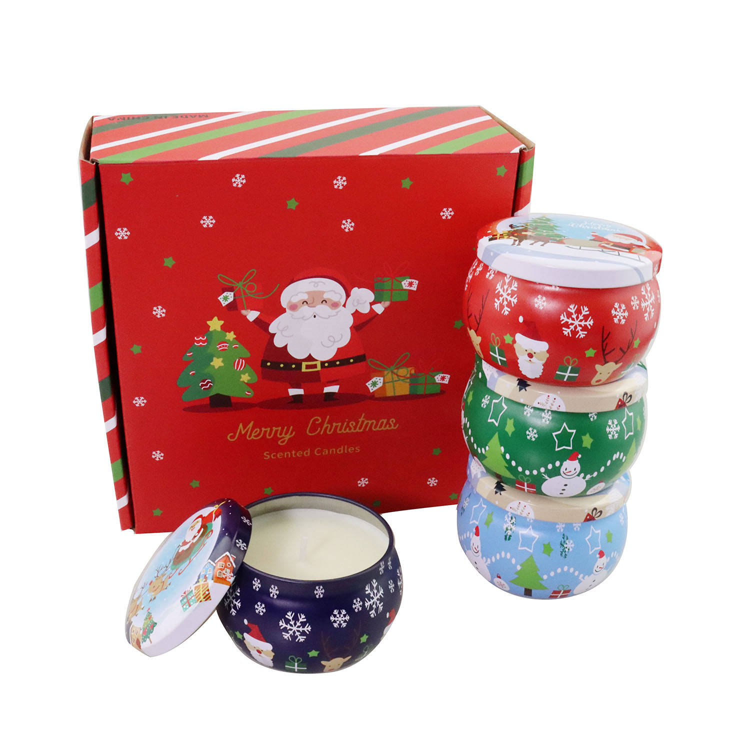 free shipping in stock 4.4 oz scented soy wax 5% fragrance 4 packs New Year Gift Set Christmas Candle