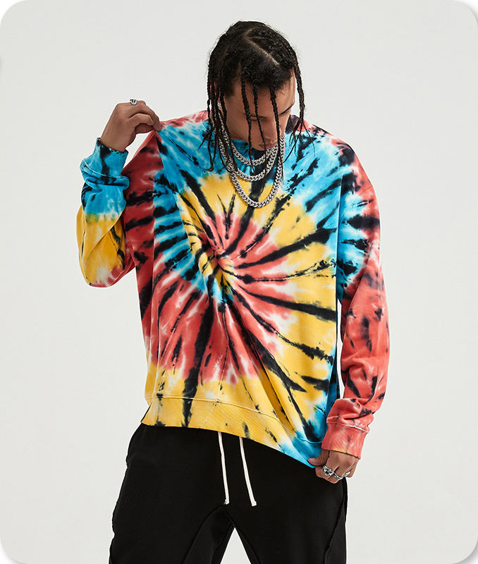 KRKC 2020 New design custom autumn winter tie dye 100% cotton crewneck long sleeve plus size pullover hip pop men's hoodies