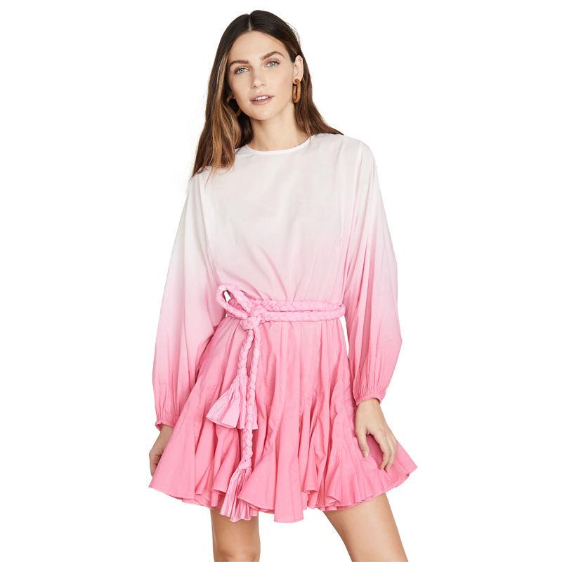 Waistband Pink Fashion Mini Long Sleeve Tie Dye Dress Women
