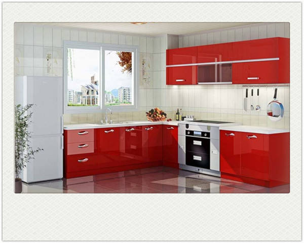 Red Lacquer muebles cocina with modular kitchen accessories of chariot de rangement