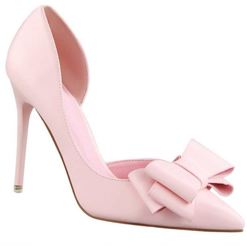 2019 Hot Selling Pink Color Bow High-heeled Shoes Thin Heel Open Toe PU Upper Women Dress Shoes