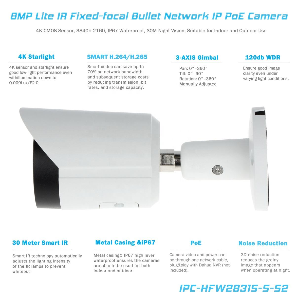 Motion Detection [ Ip67 Bullet Camera ] Valucam DH 2MP 4MP 5MP 4K 8MP Lite Fixed-focal IP67 SD Card Slot WDR ROI IR Bullet Networkcamera Security Network PoE IP Camera