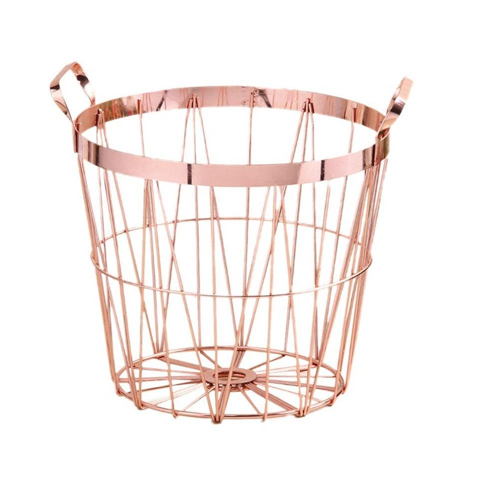 Round Laundry Hampers Wrought Iron Nordic Style Rose Gold Storage Basket with Handle for Dirty Laundry Blanket Toys Towels Shoes