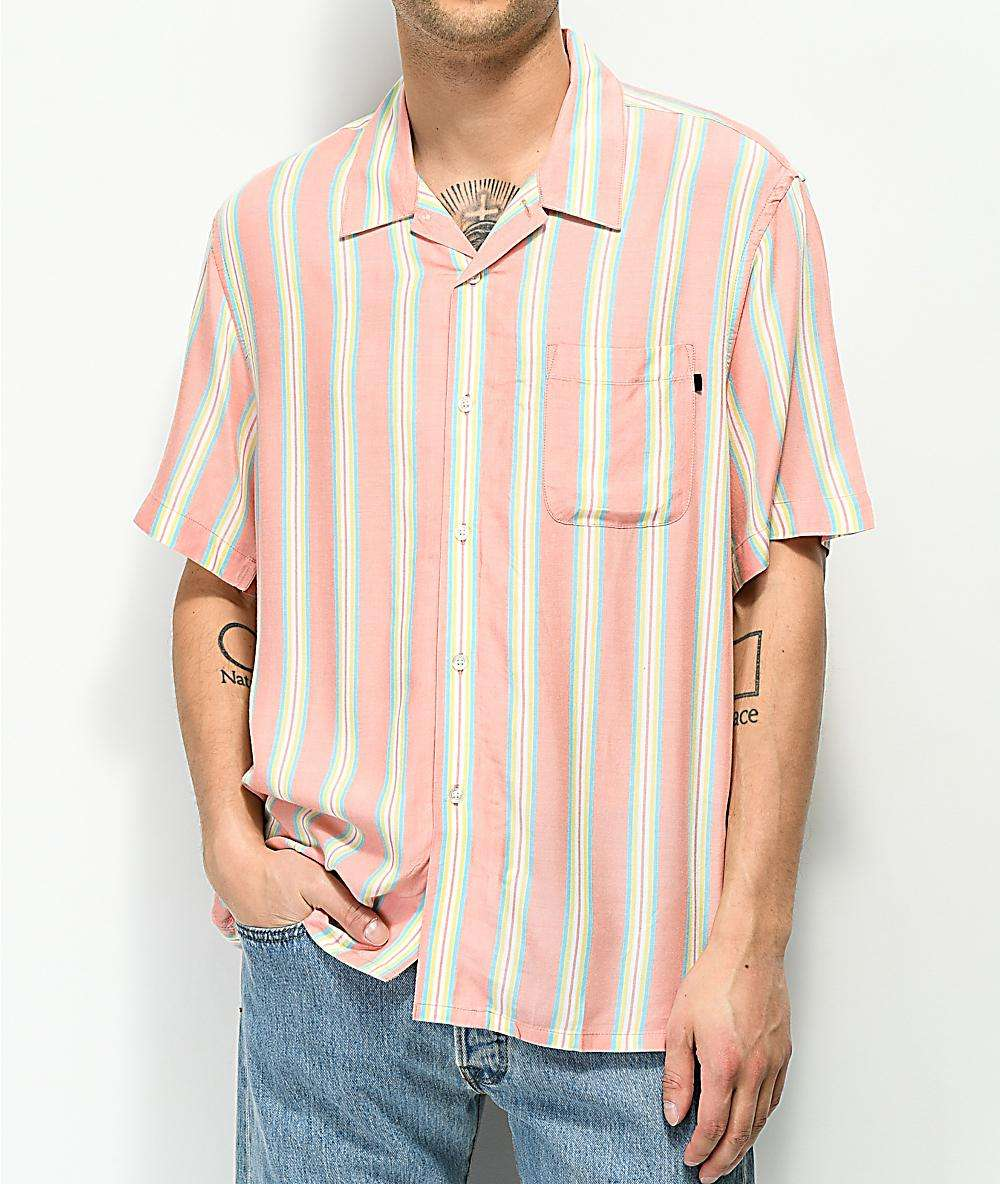 100% viscose vertical stripe loose fit button up shirt Fashion design coral men casual shirt custom