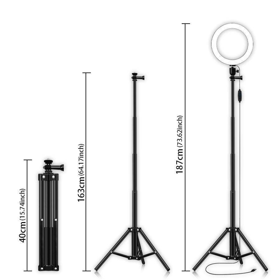 "8"" selfie ring light with tripod stand cell phon, stellar diva led ring light with stand#"