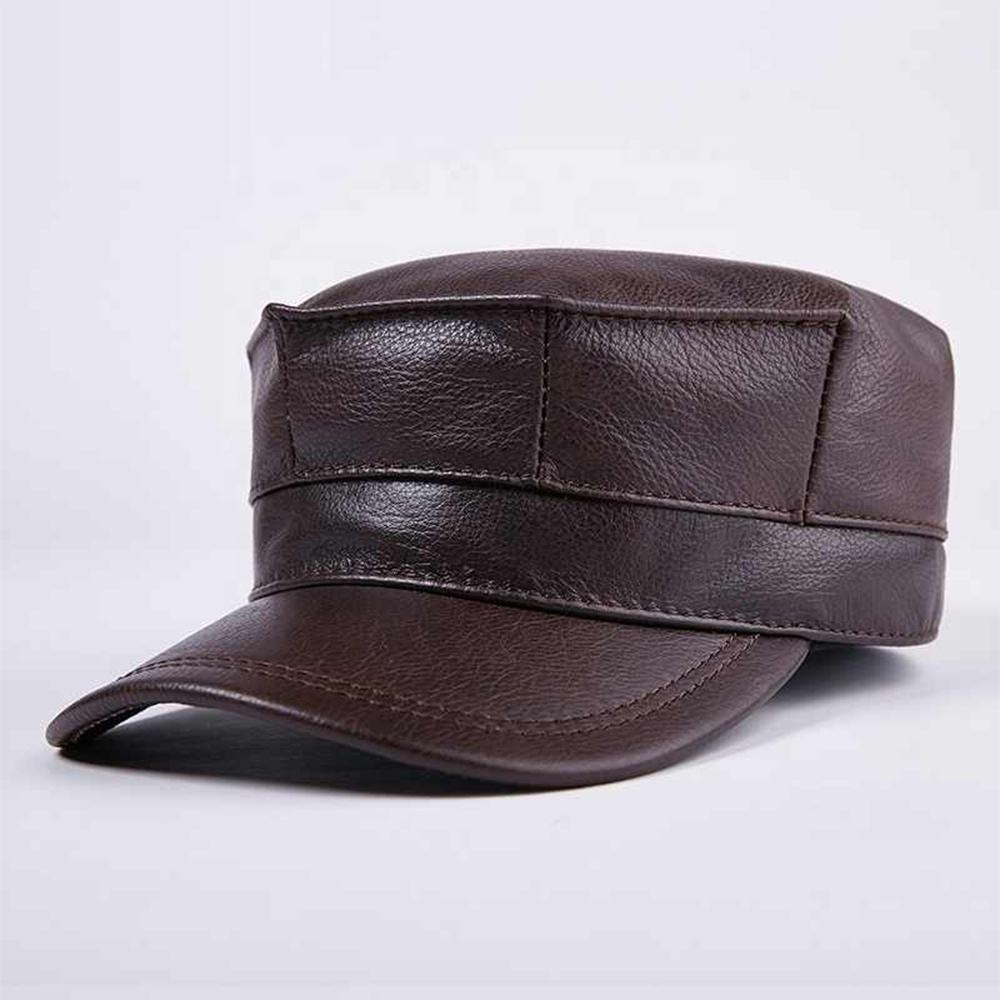 Genuine Leather Hat Men's Baseball Cap Adult Winter Warm Leather Cap