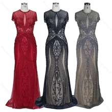 Navy/Red/Silver Heavy Beaded Rhinestone Crystal See Through 2020 Sexy Women's Plus Size Long Sleeve Evening Dresses Party Gowns