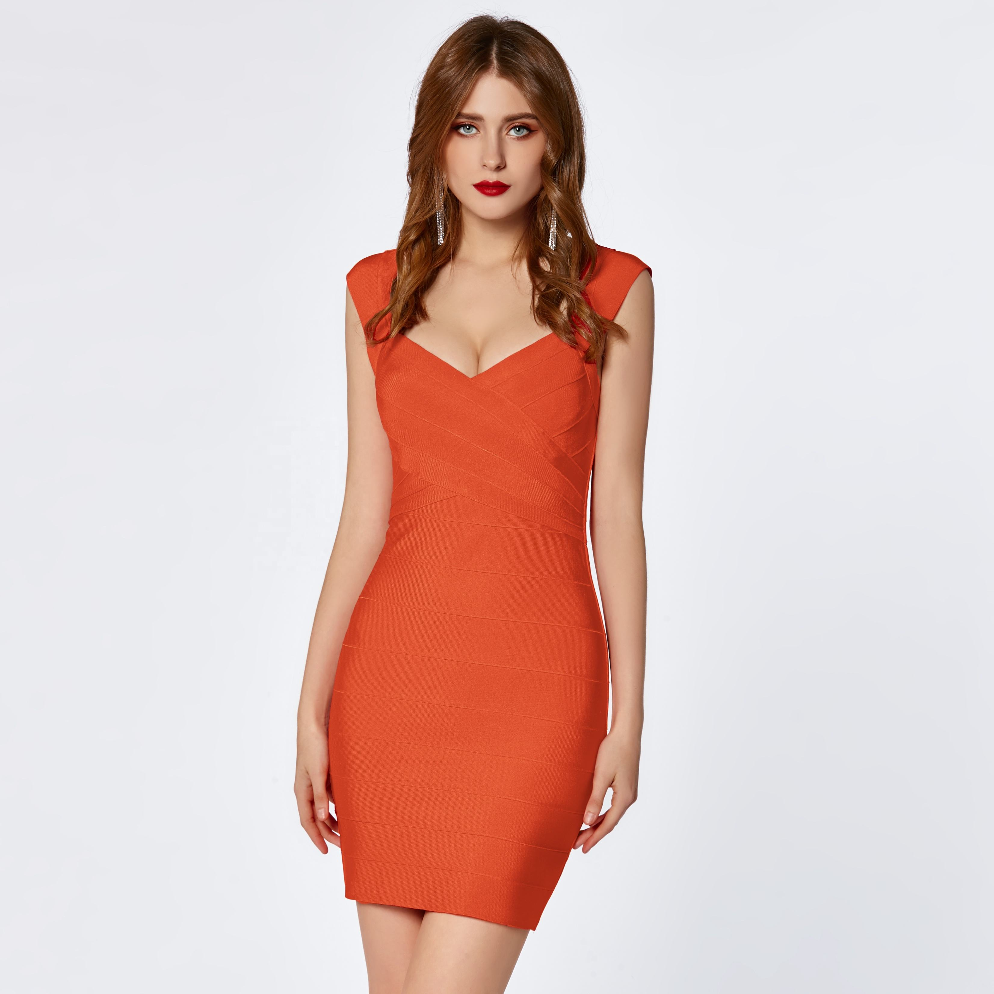 2020 OEM factory women classic orange backless evening party mini bodycon bandage dress sexy