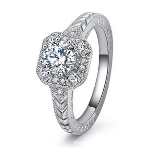 Princess Square Round Row diamond Micro pave insert Zircon Diamond 925 sterling silver ring