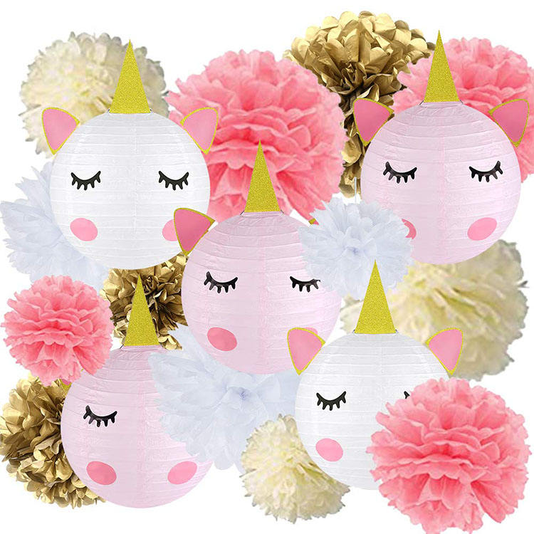 Nicro Durable Hot Sell Children Unicorn Birthday Party Hanging Decoration Diy Paper Pompom Lantern