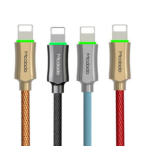 Mcdodo led light cable smart automatically power-off auto disconnect usb data cable with LED light for iphone