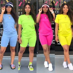 CH9111 Casual fashion O-neck solid color 2 piece set women summer clothing 2020 new arrivals