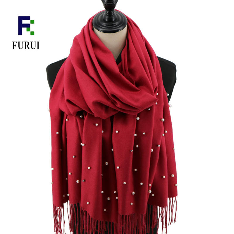 Fashionable 2020 winter cotton pashmina with pearls warm long bead scarf shawls for women