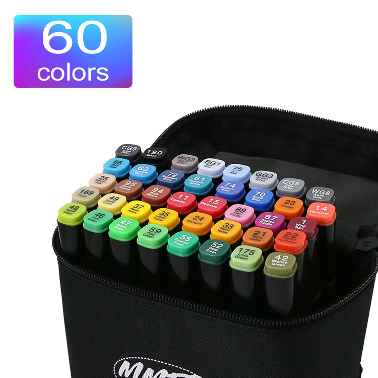 Indoor 60 colors double art colouring pens fine tip Selectable color professional art alcohol brush marker colour marker set