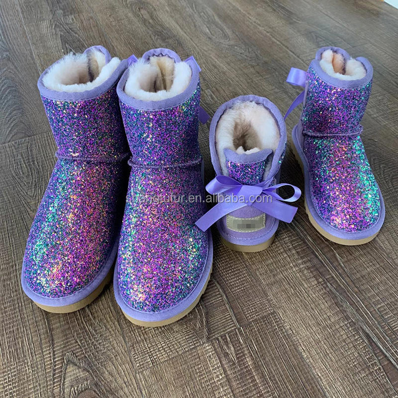 SF0618 wholesale Fashion winter Fur Short Boot Mom and Kids ugh glitter fur snowboots