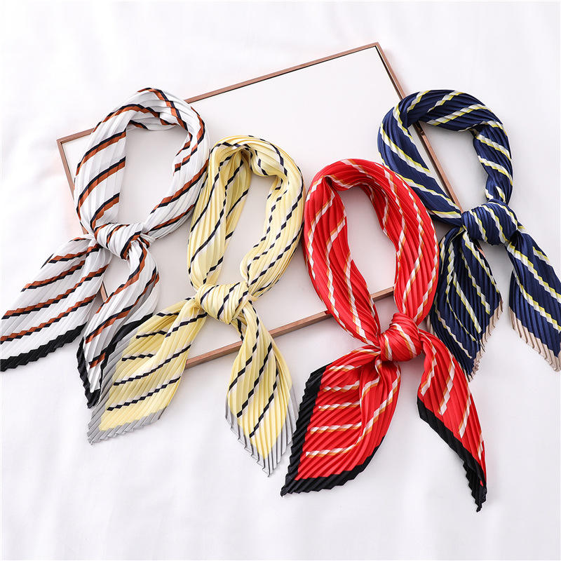 2021 NEW Contracted stripe scarf pure color joker small square scarf drape female decorative scarf crushed emulation silk