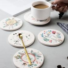 Wholesale Custom Printed High Grade Clay Diatomaceous Earth Drink Coaster for Tea Cup Pads Mat Holder with Cork Back Set of 6