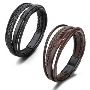 Multilayer Leather Bracelet Men Magnetic-Clasp Cowhide Braided Multi Layer Wrap Trendy Bracelet Armband Pulsera Hombre
