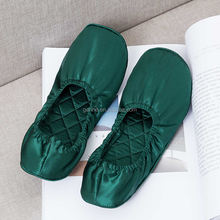 Gerine High quality popular women's dark green 100%  silk flat shoes