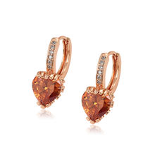 97524 Xuping popular design heart shape Synthetic CZ stone rose gold color hoop earring for women