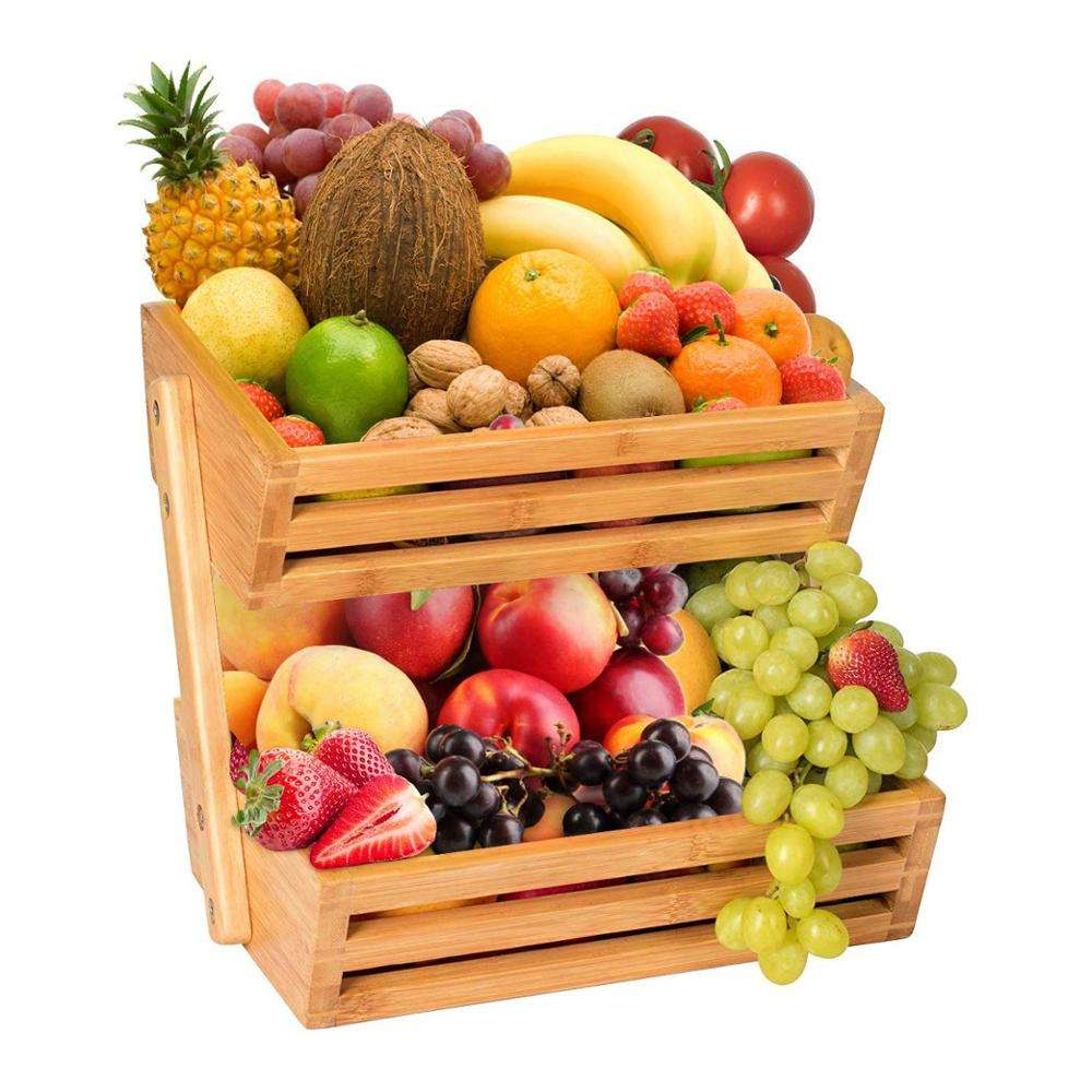 Wholesale Multifunctional 2-Tier Bamboo Fruit Basket for Kitchen Counters