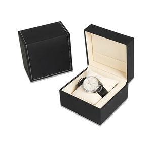 China Manufacturers Oem PU Leather Watch Box Custom Logo Elegant Black Jewelry Box
