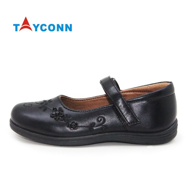Princess hotsale cheep buckle strap memory foam insole girls school shoes black leather
