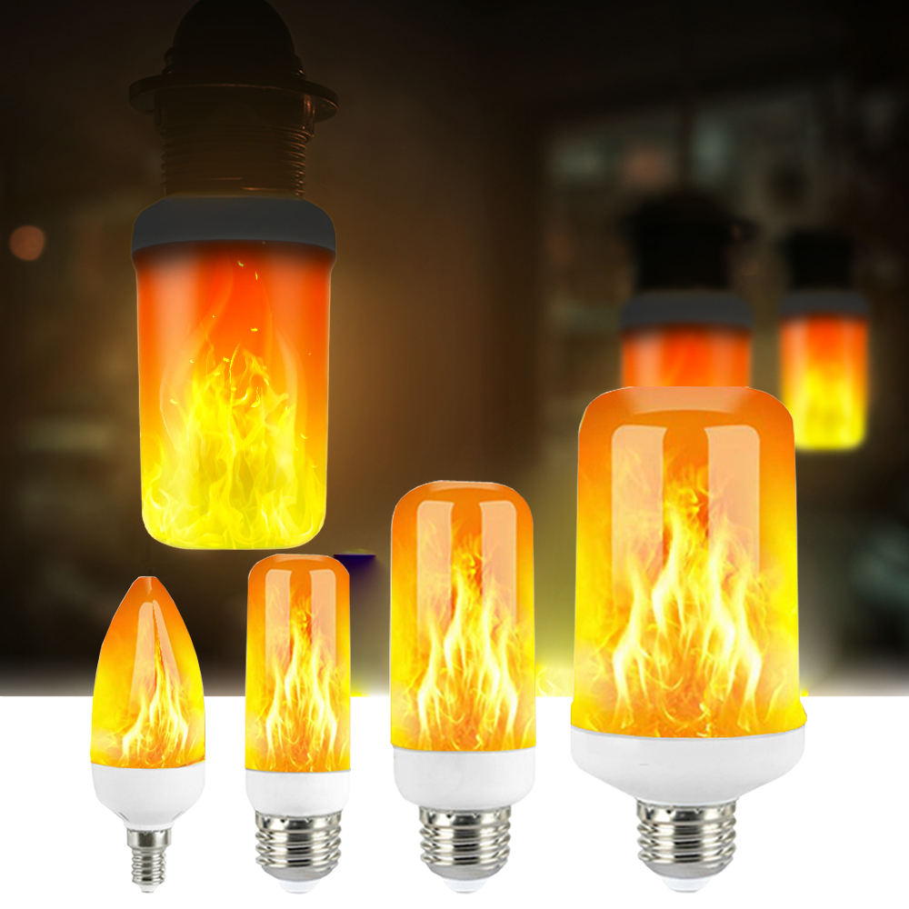 Flame Effect Light Bulb LED Dynamic Flame Light E27 E26 E12 E14 Flickering Emulation Lamp Creative Led Christmas Decor Lighting