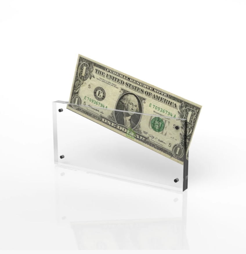 10X20cm Photo Bank Note Money Holder Acrylic Clear Currency Display Dollar