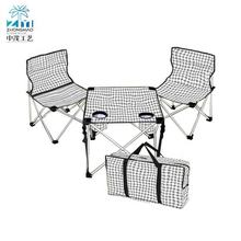 Portable foldable two seater camping chairs and table