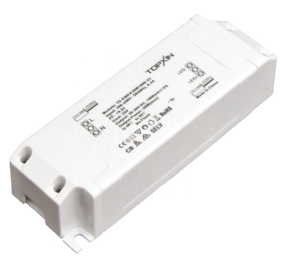 Constant Current Dinmmable LED Driver 30W 1000mA Low ripple Free flicker TUV Certufied 3 in 1 (1-10V/PWM/Resistance)