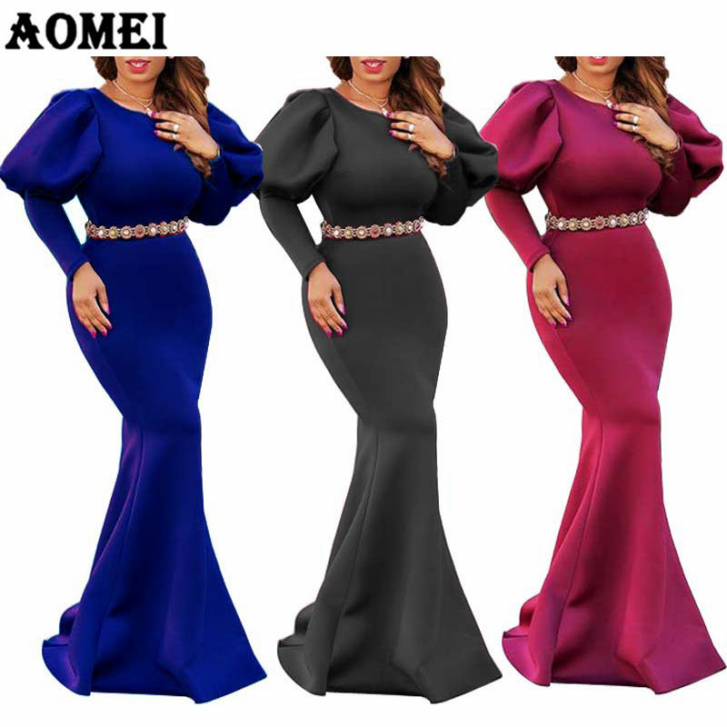 Bodycon Soild Long Round Neck Puff Sleeves Evening Dresses Women