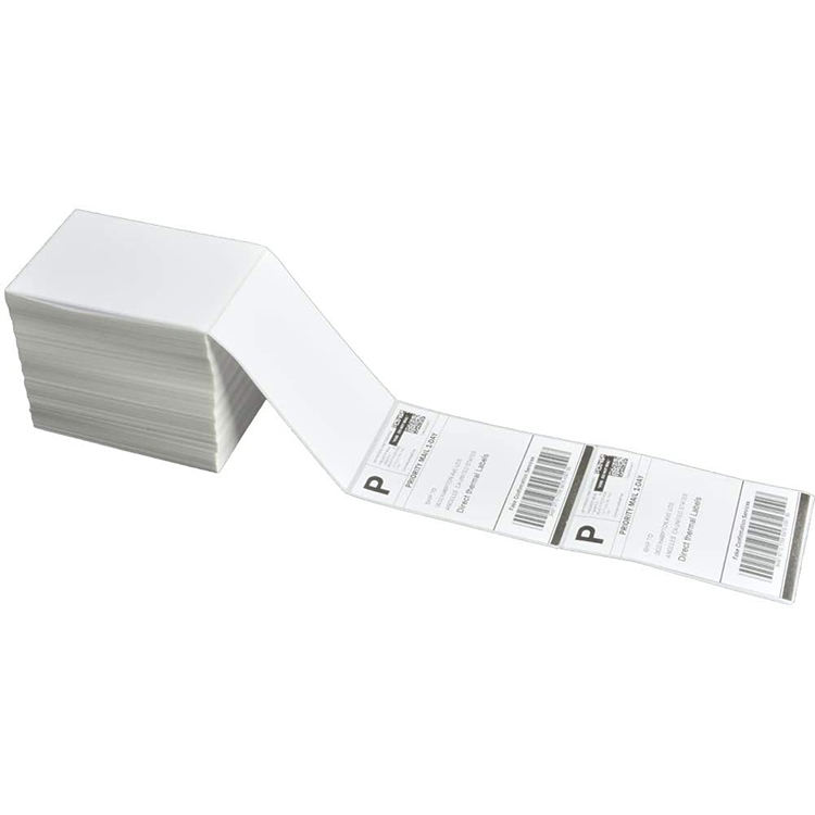 "White perforated permanent adhesive fanfold direct thermal shipping label 4"" x 6"" for thermal printer"