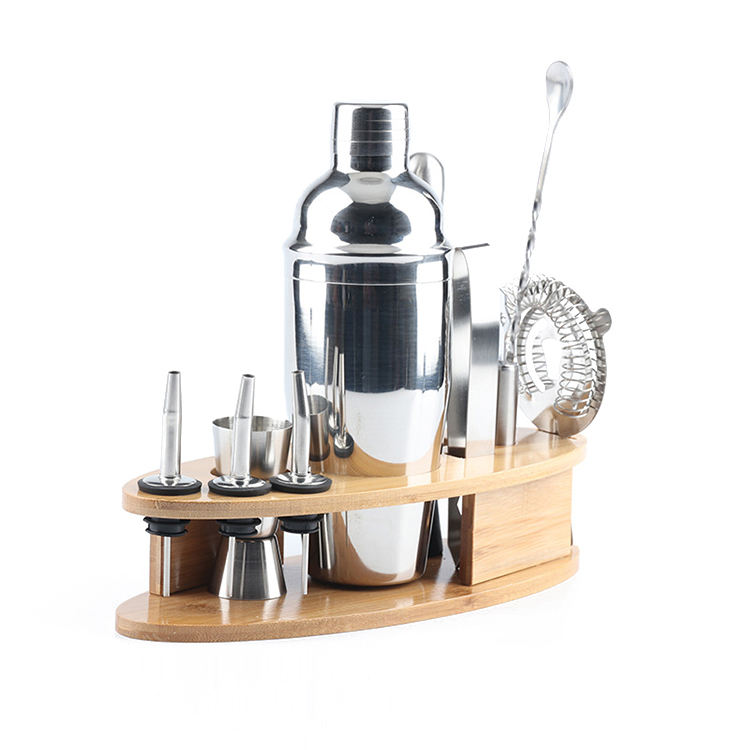 Amazon Top Seller 2020 Bartender Kit Stainless Steel 10-Piece Bar Tool Set 750ml Cocktail Shaker Set With Stylish Bamboo Stand
