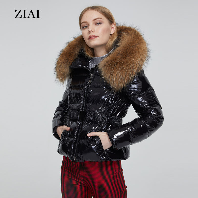New arrival women winter shiny waterproof padded coat duck down jackets with real fur hood girls puffer coat women's jackets