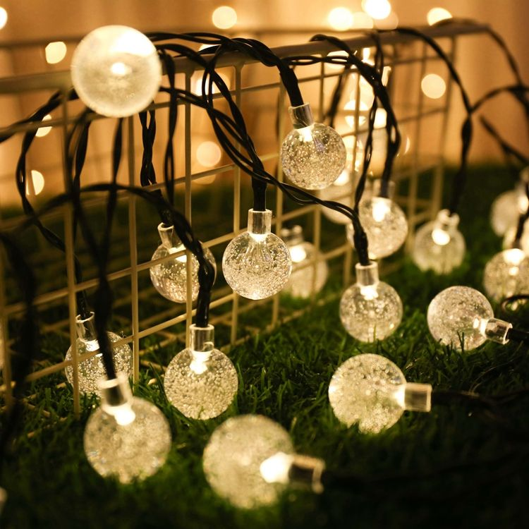 Solar LED Globe Bubble Crystal Ball Fairy String Light Outdoor